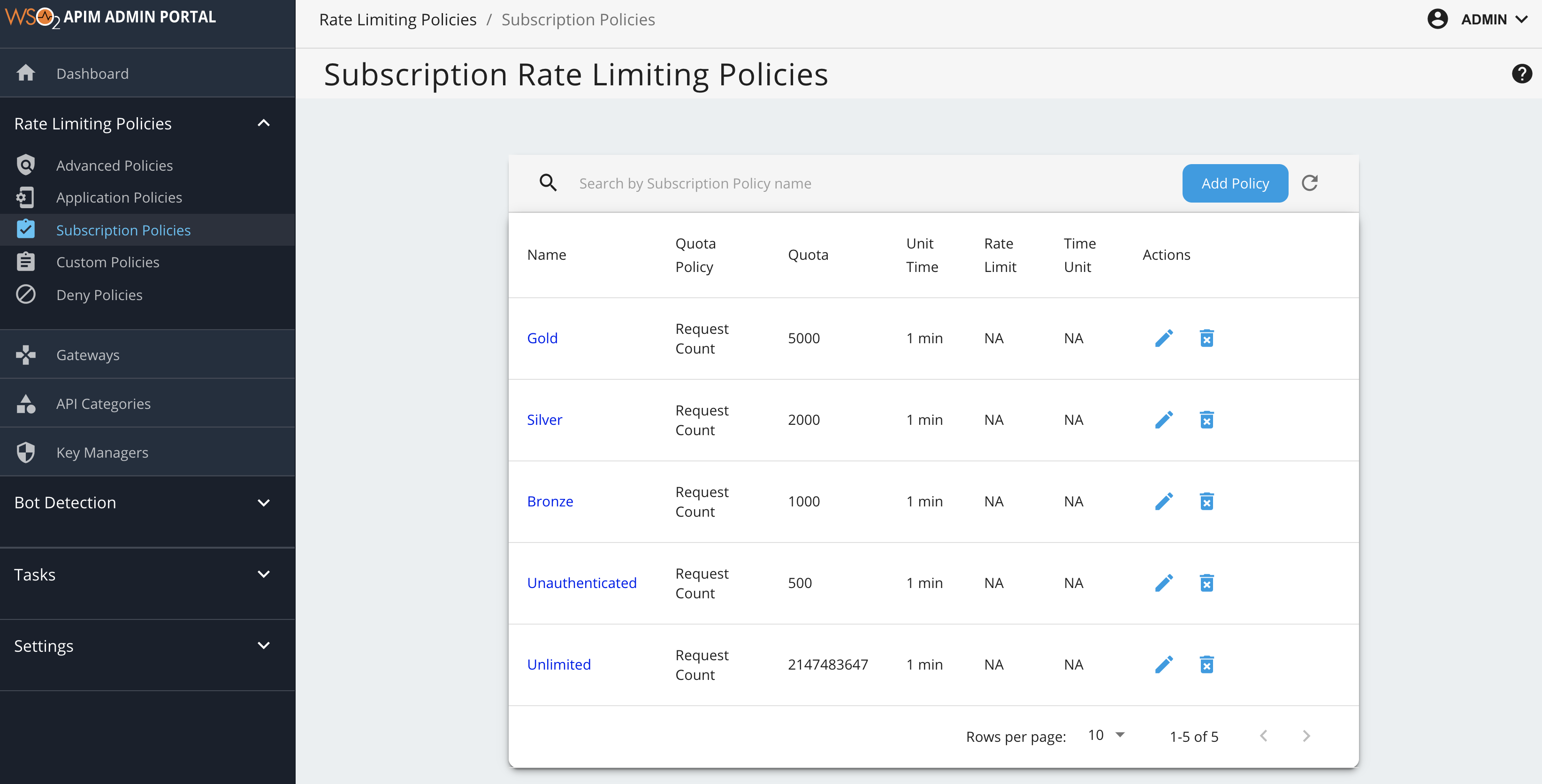 Add subscription policy page