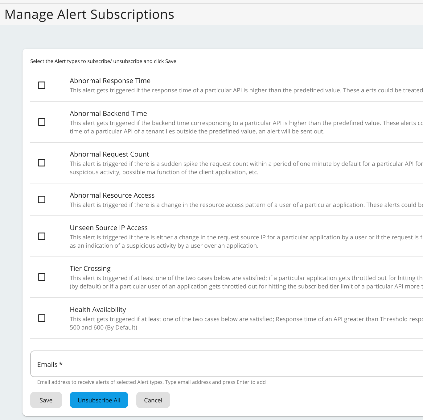 Subscribe to alerts in admin portal
