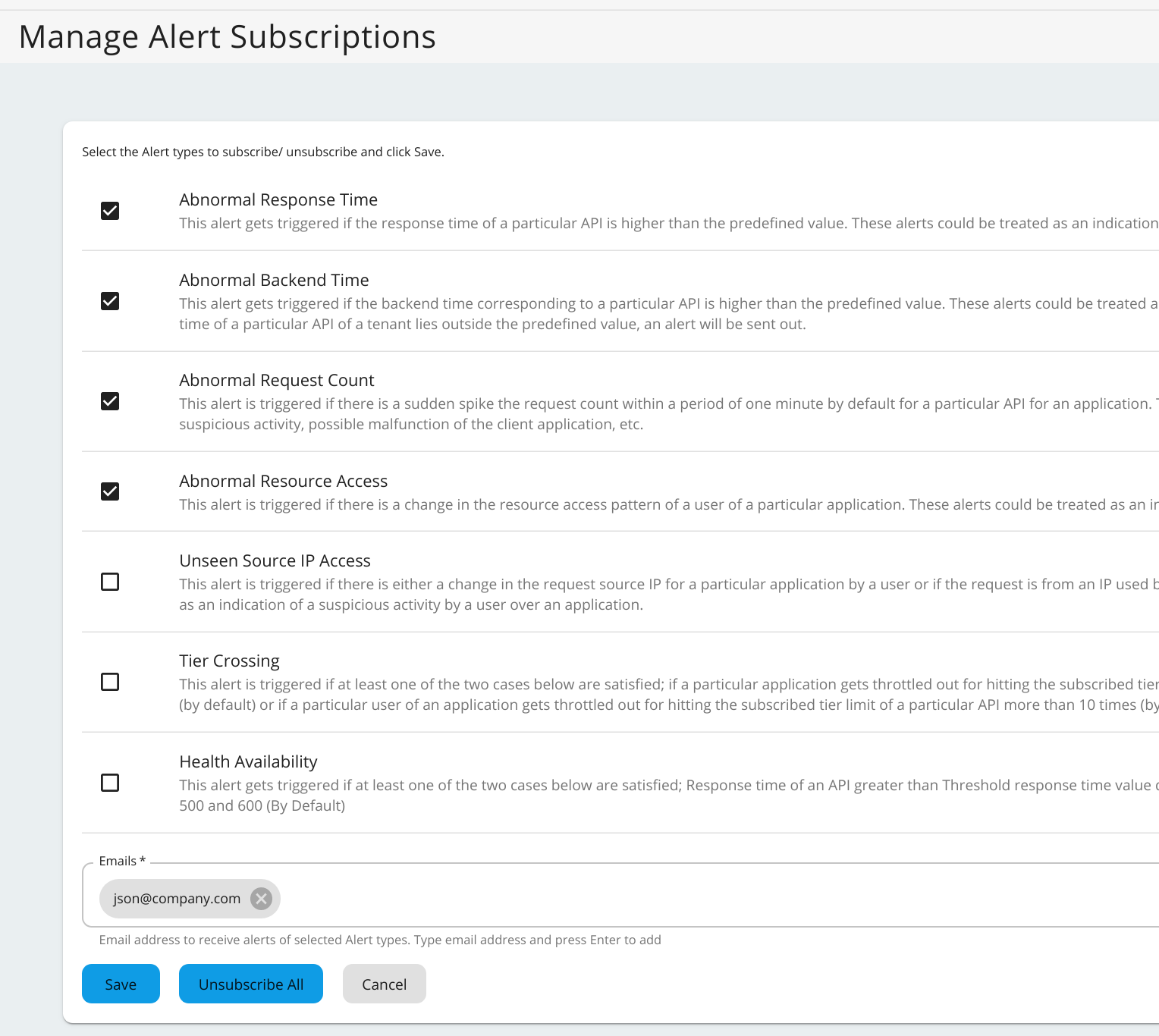 Unubscribe to alerts in admin portal