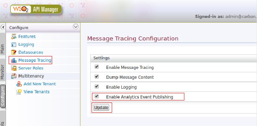 Enable analytics Event Publishing