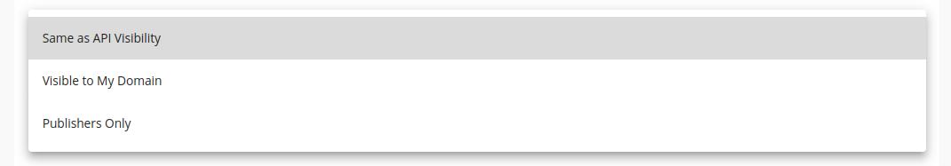 API document visibility selector dropdown