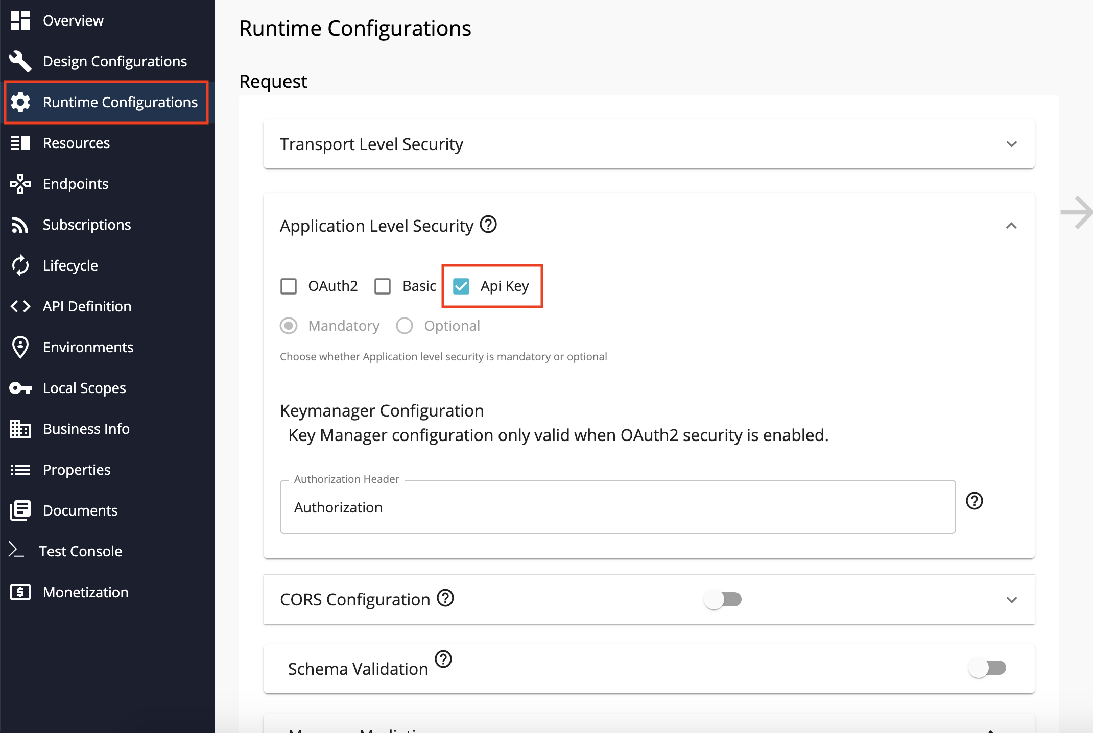 Configure API key authentication
