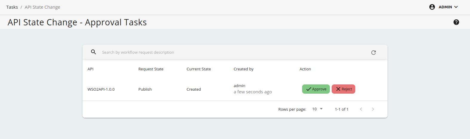 API state change pending list