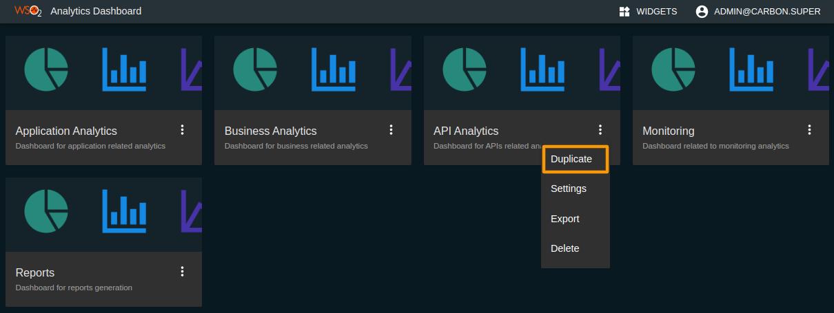 APIM Analytics dashboard dropdown