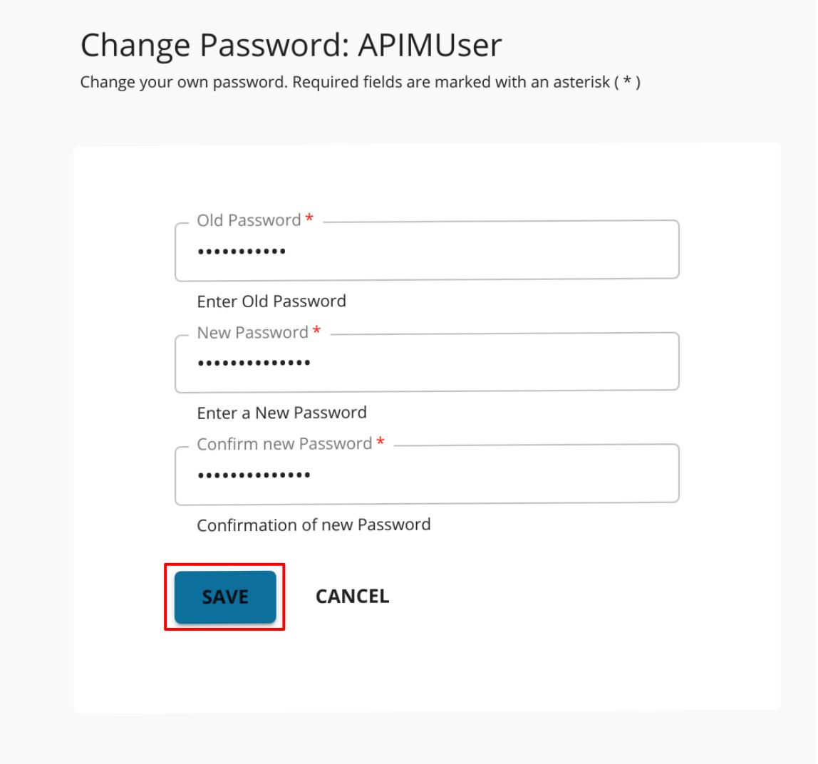 Developer portal password change submit