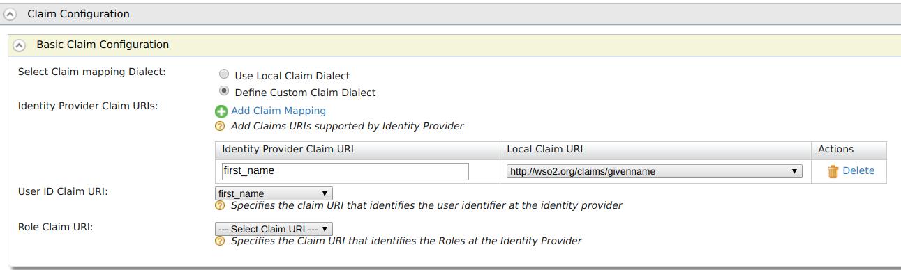 Claim configuration for Facebook Login