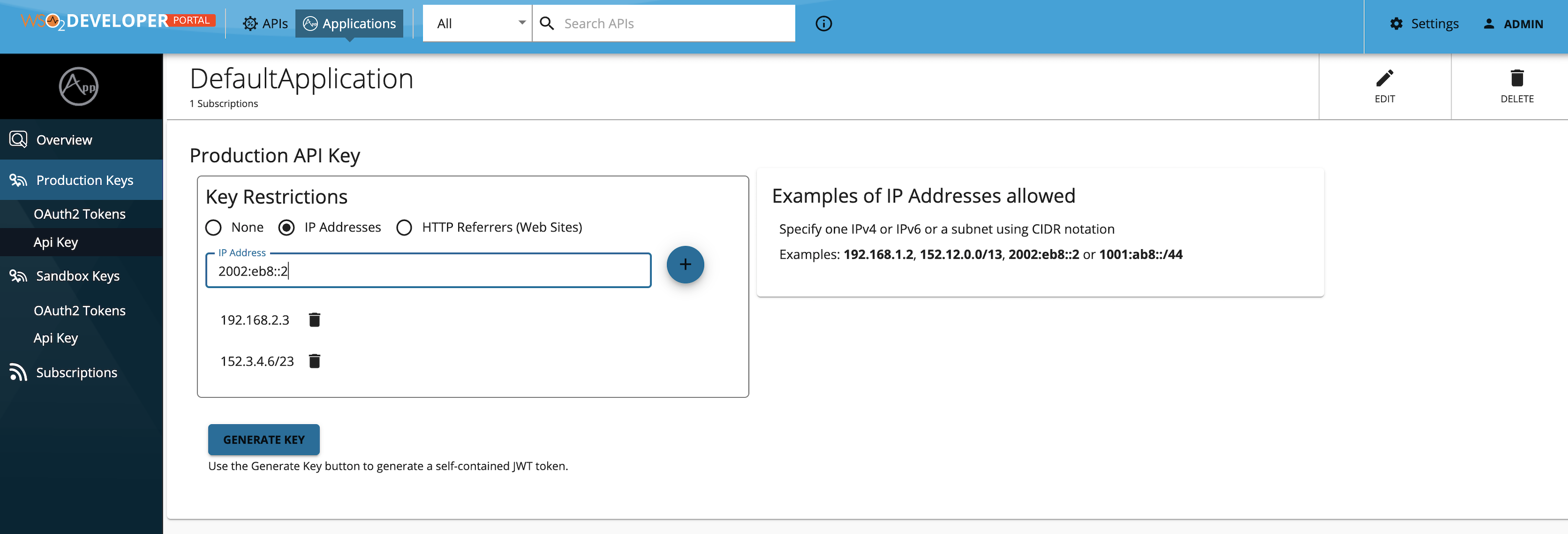 IP Restricted API key
