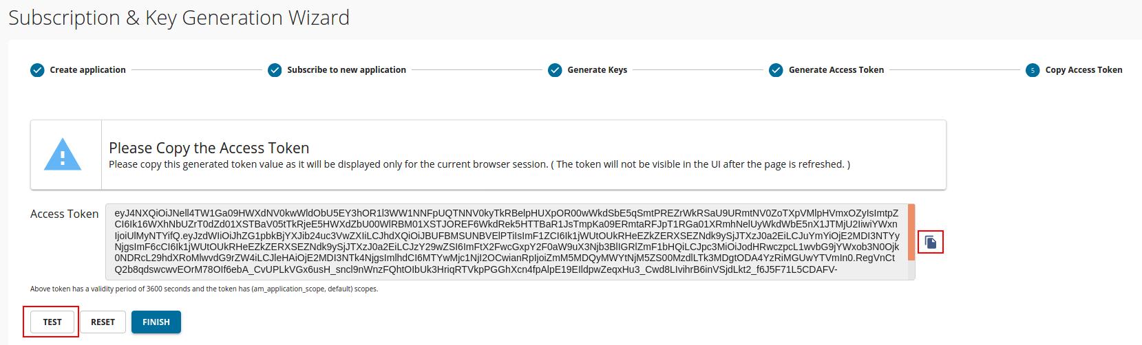 Copy access token