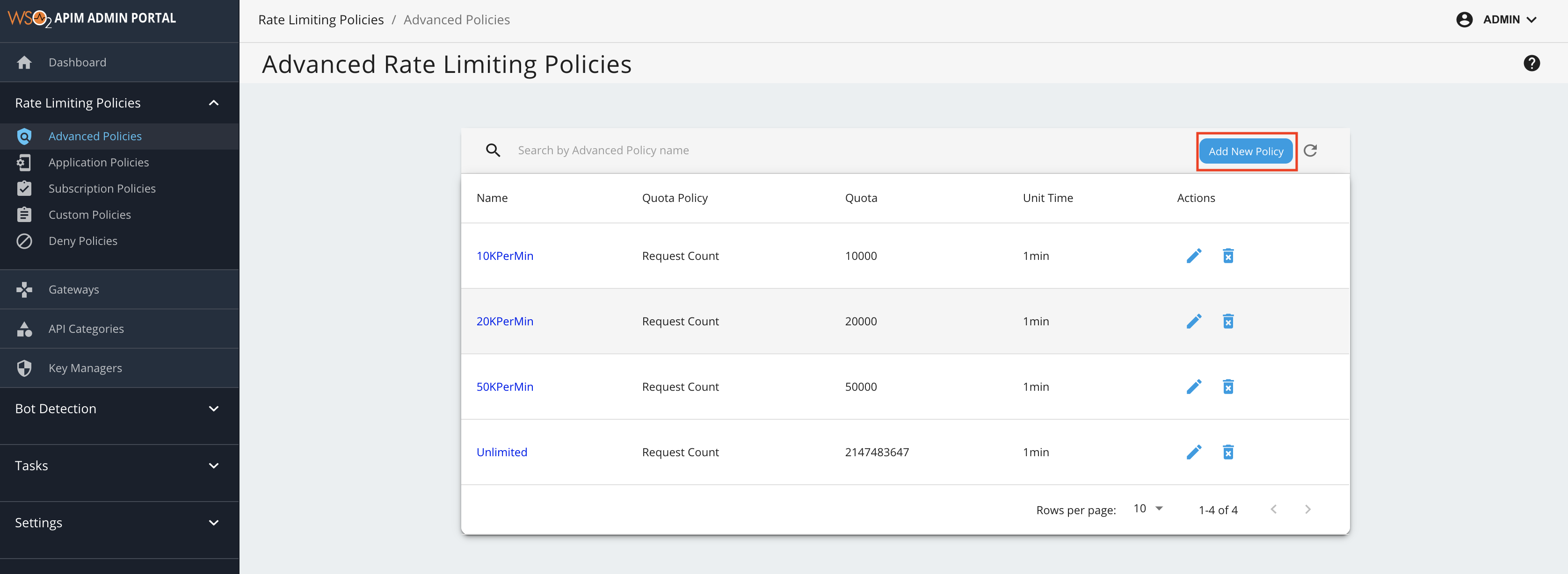 Add advanced policy page