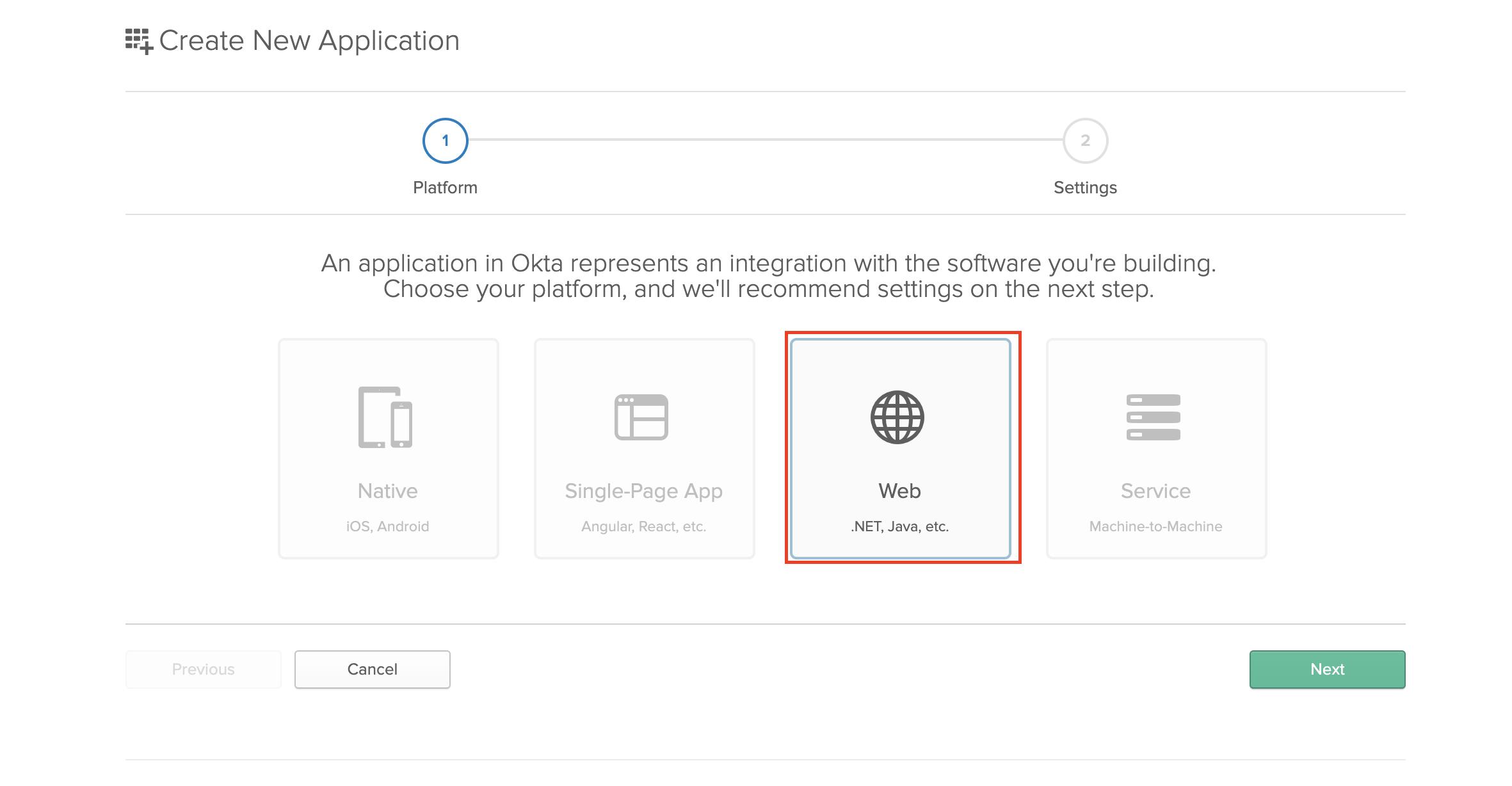 Add new web application in Okta