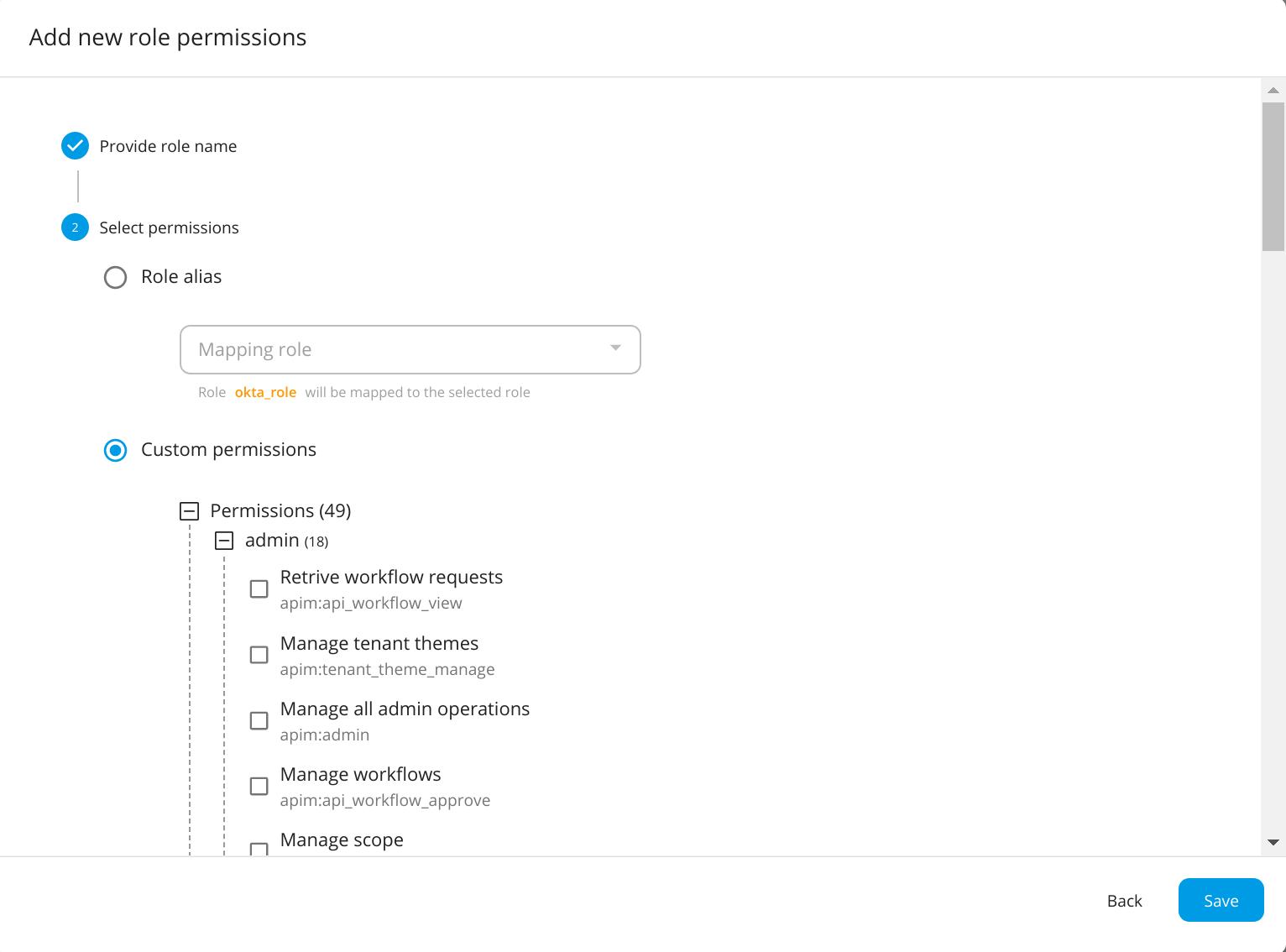 Okta API-M role pemission mapping