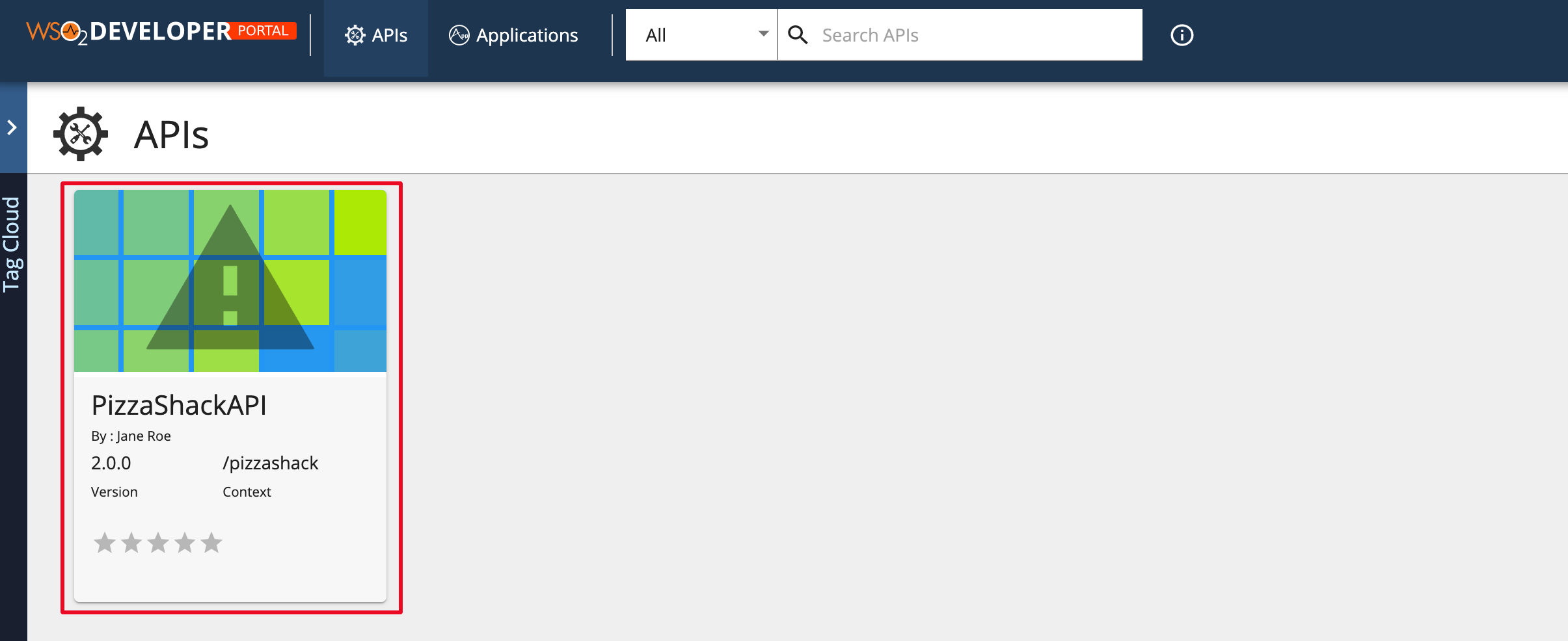 Prototyped API in Developer Portal