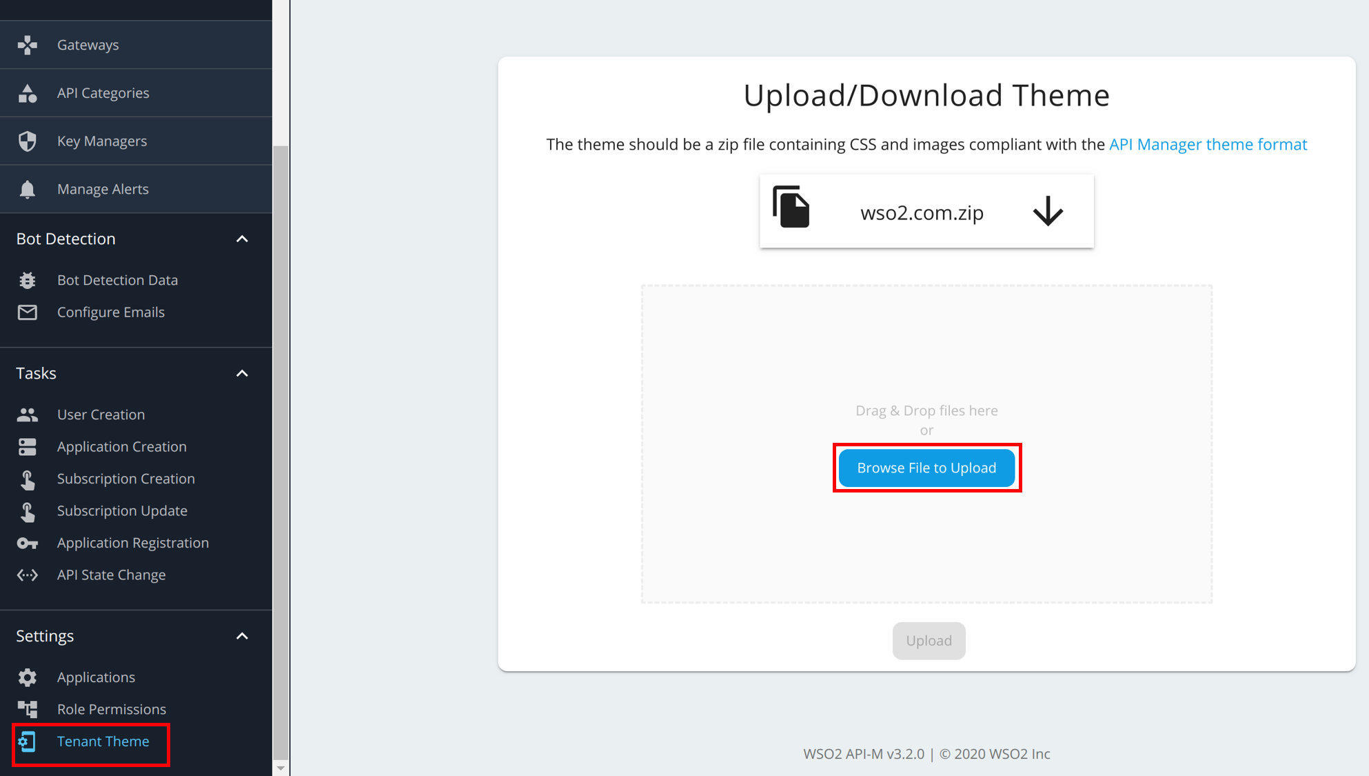 Upload tenant theme