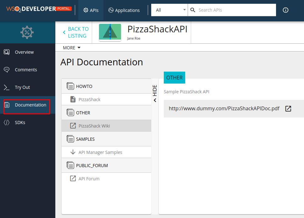 View API related documentation
