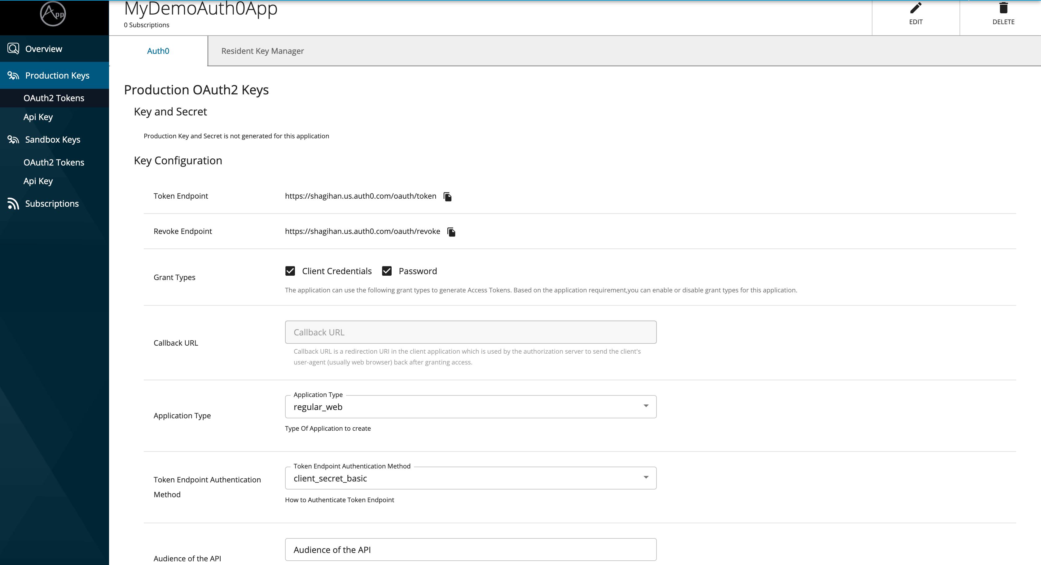 auth0 app creation form