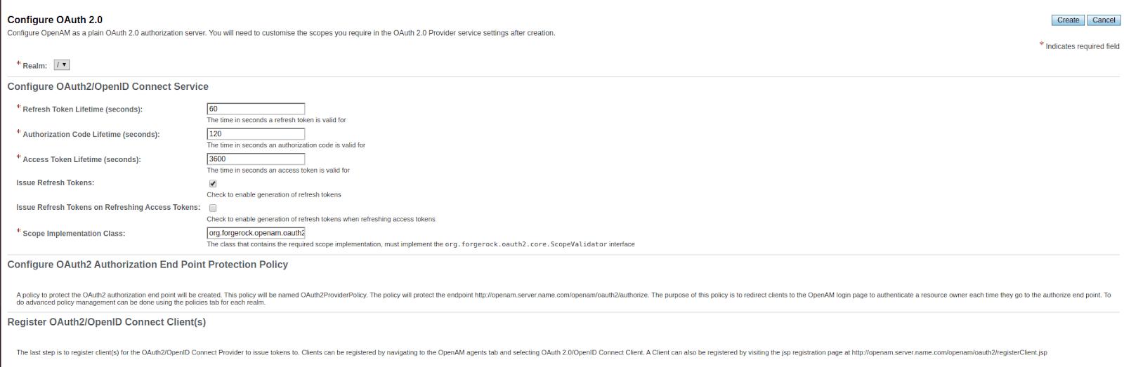 ForgeRock create OAuth Provider