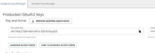 ForgeRock Developer Portal generate keys