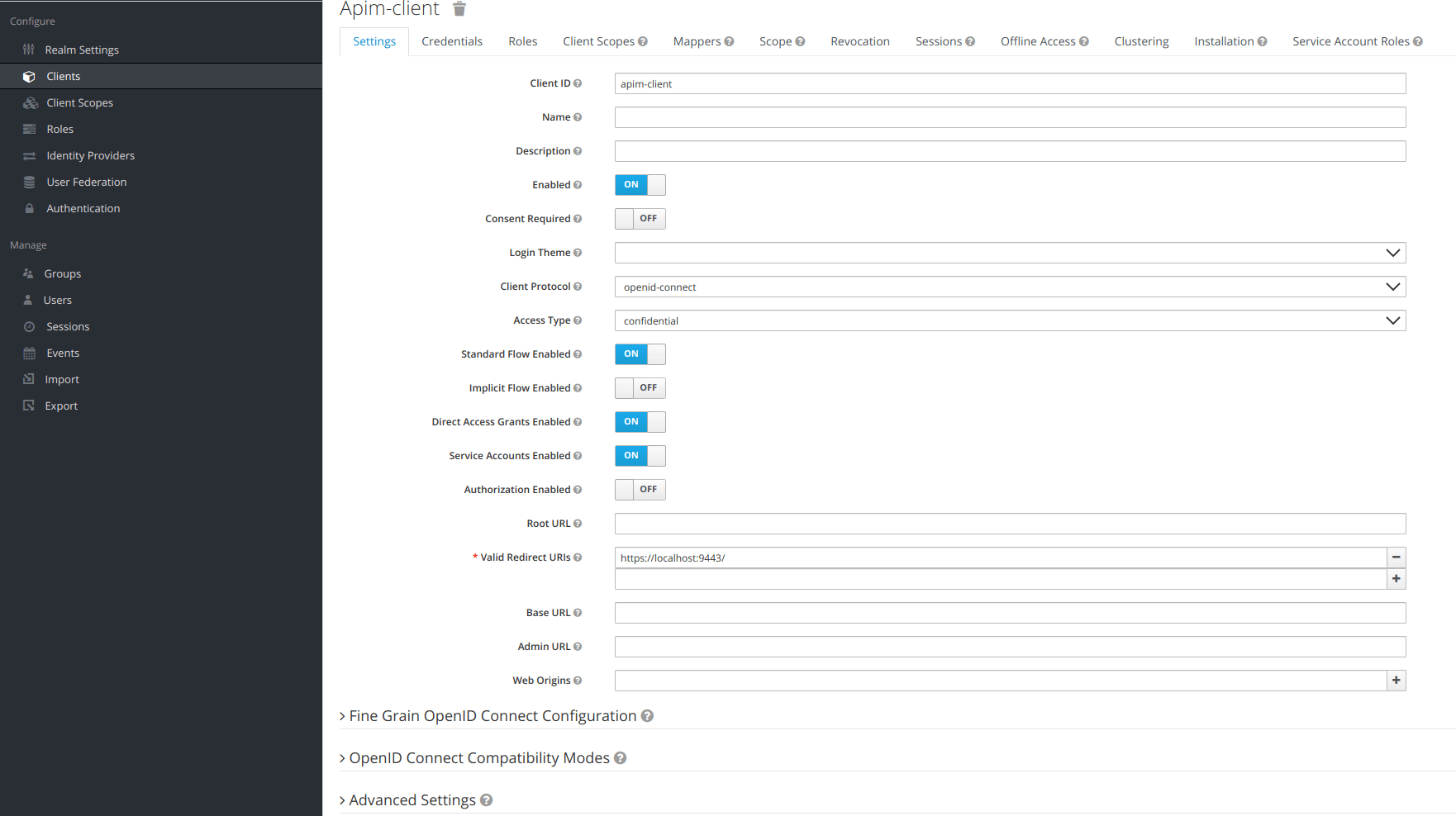 Keycloak add client