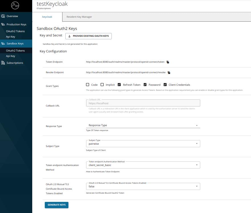 Keycloak Developer Portal generate keys