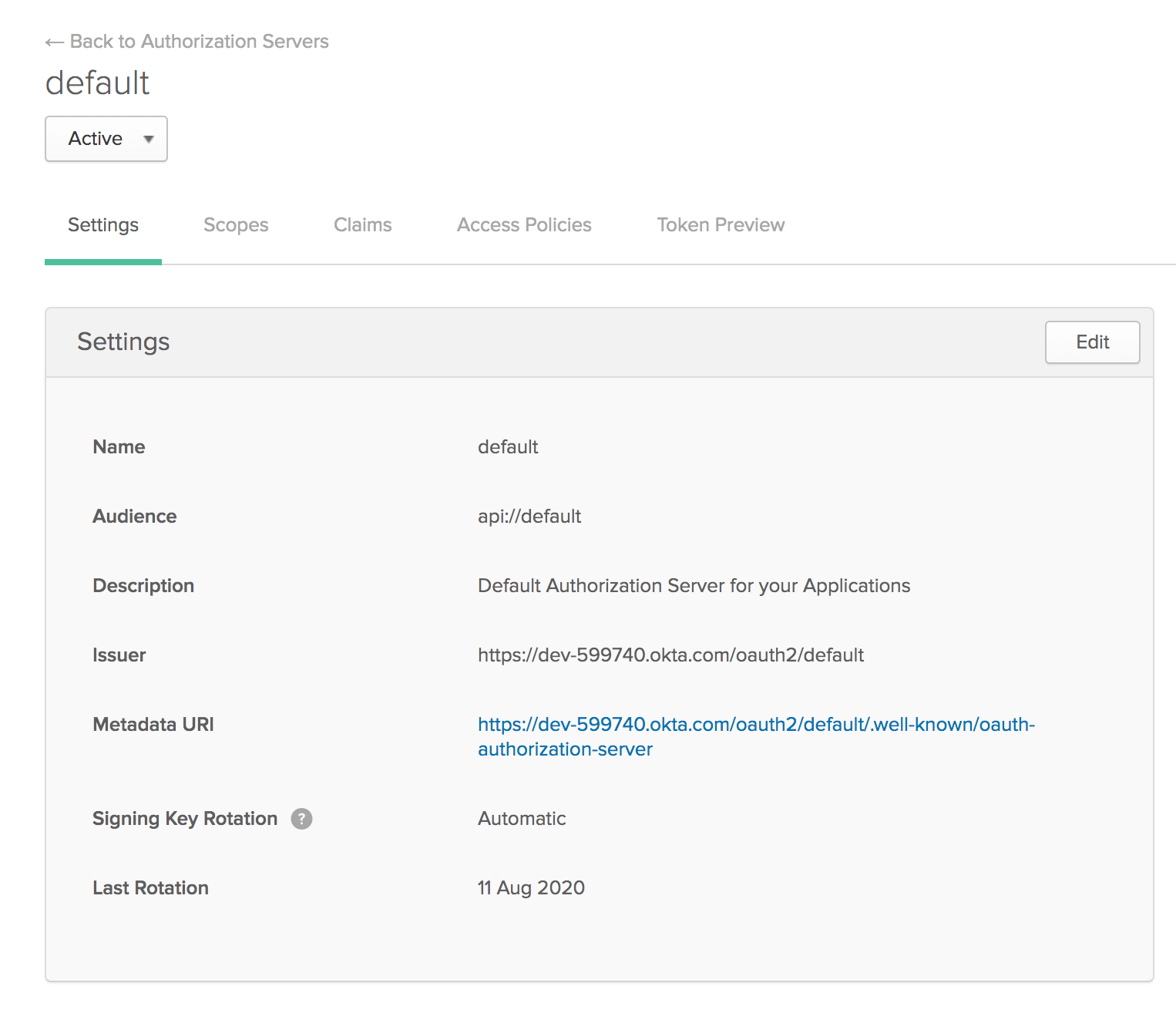 Okta authorization server settings