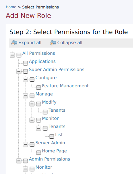 Select role permissions