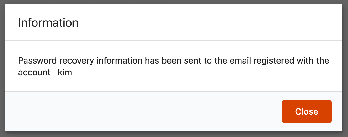 Password recovery email confirmation