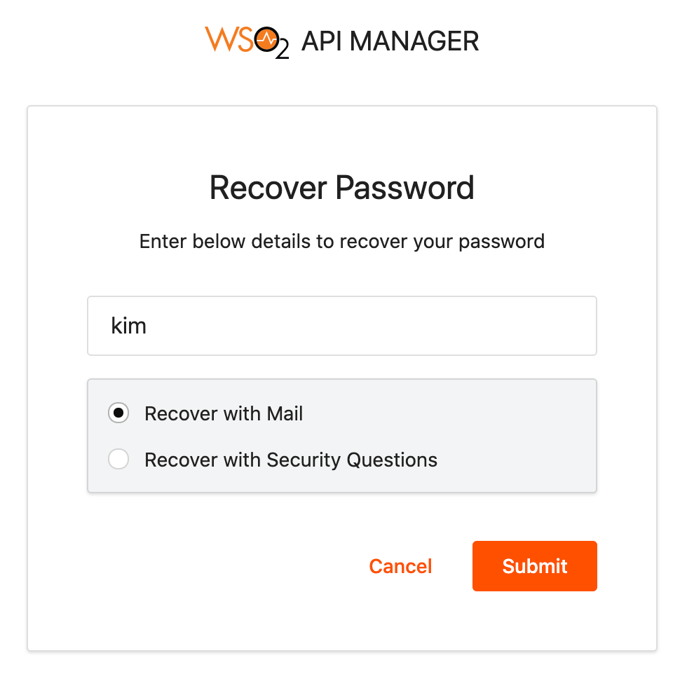 Password recovery page