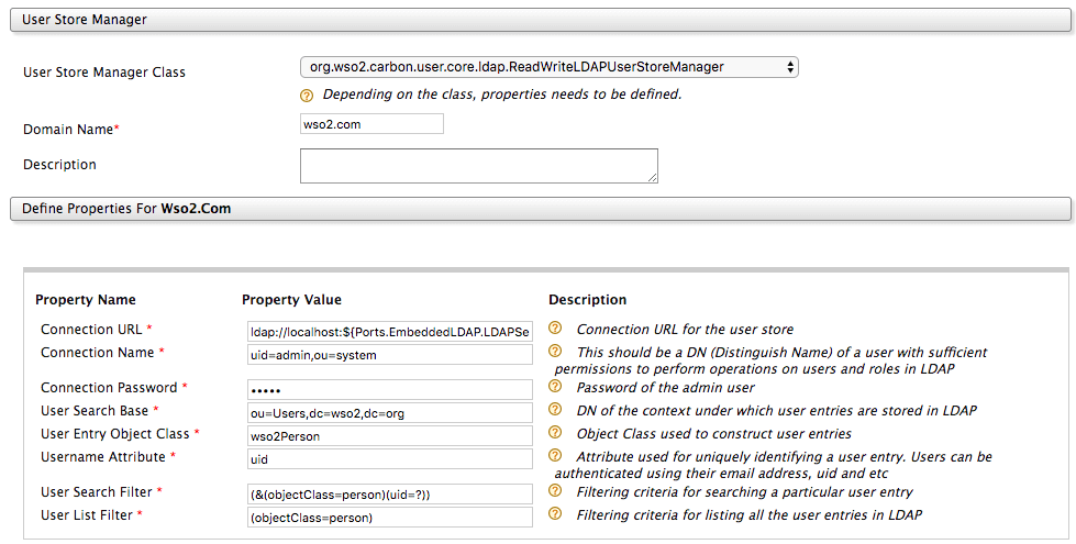 Secondary user store definition