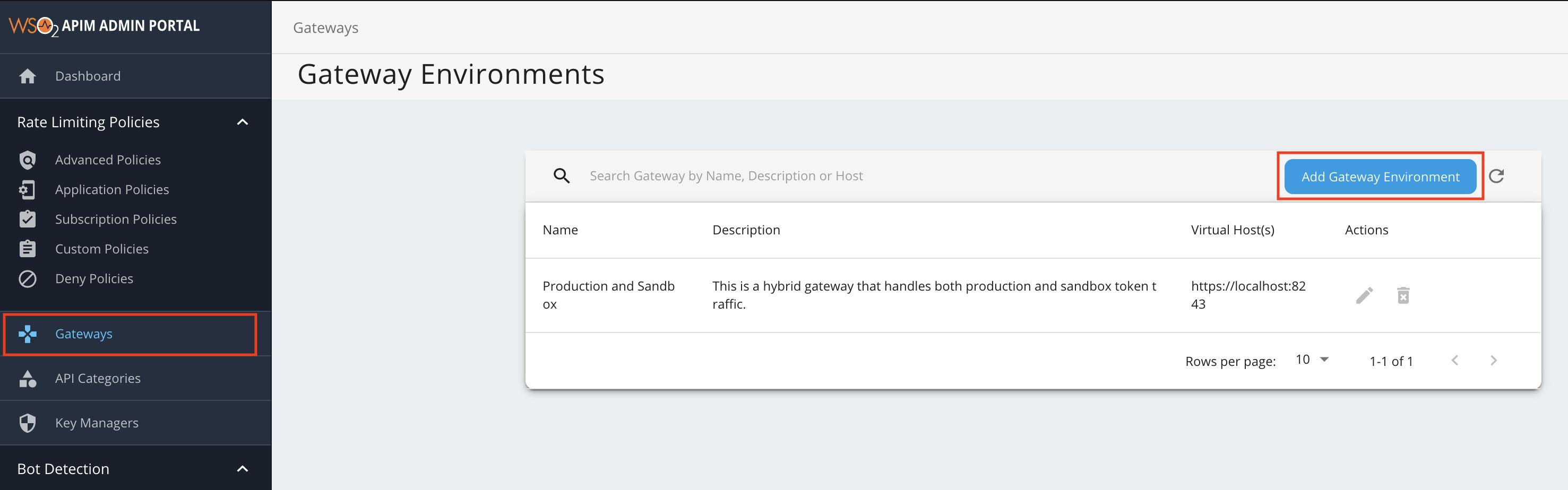 Menu to add Gateway environment