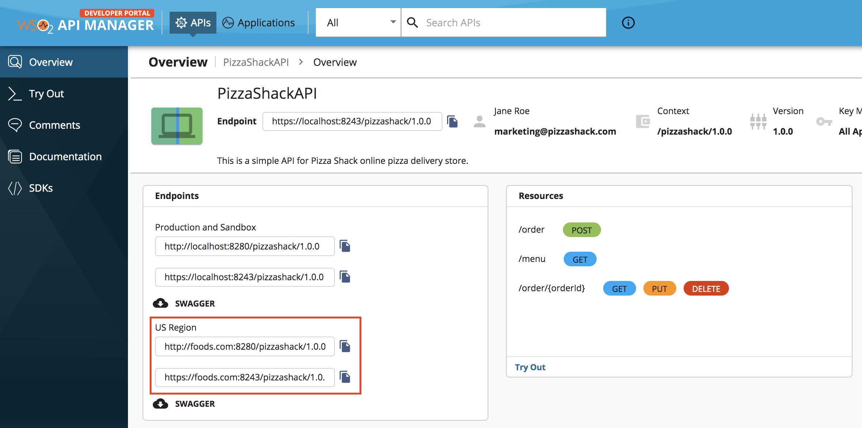 Virtual host in the Developer Portal