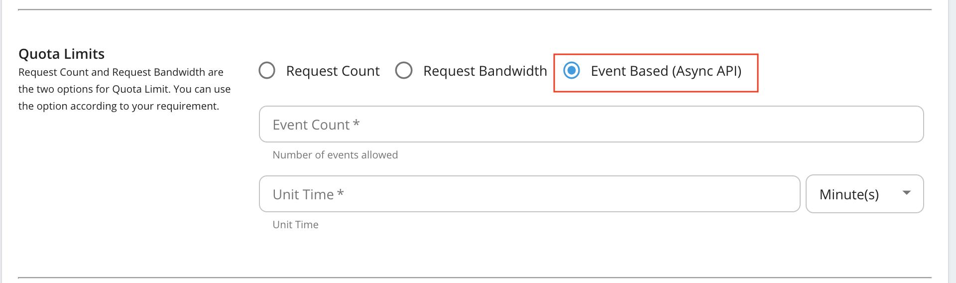 Event Based (AsyncAPI) quota limits