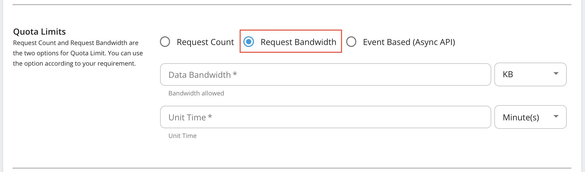 Request bandwidth based quota limits