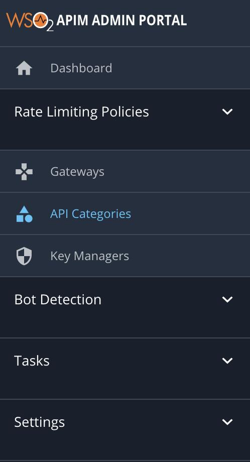 API categories menu