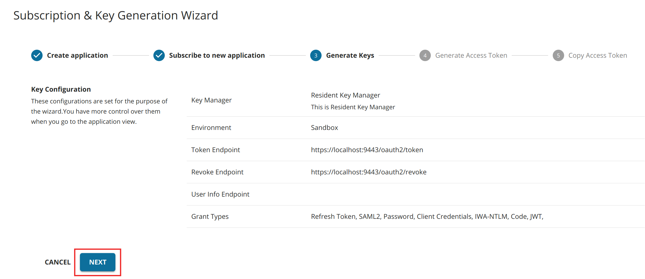 Wizard - Generate Keys