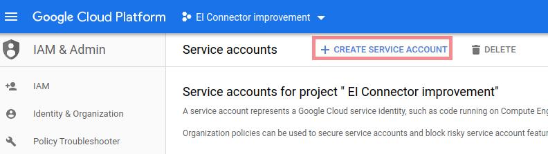 Bigquery create service account