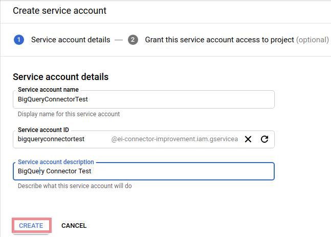 Bigquery enter service account