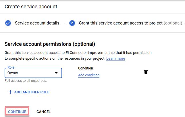 Bigquery enter service account role