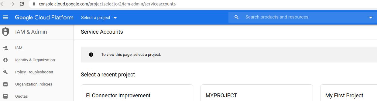 Bigquery service account