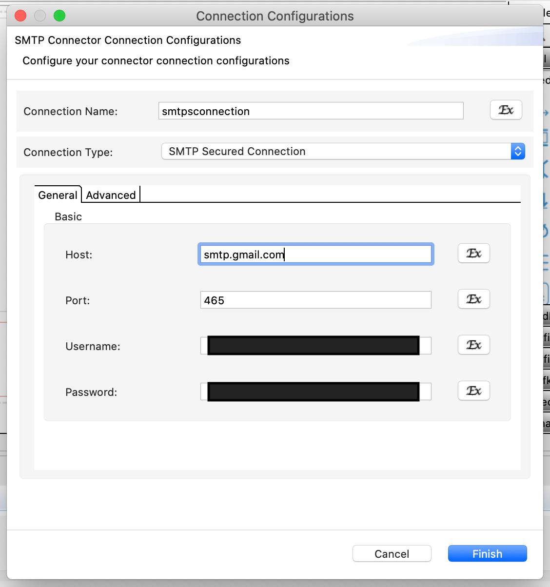Connection parameters.