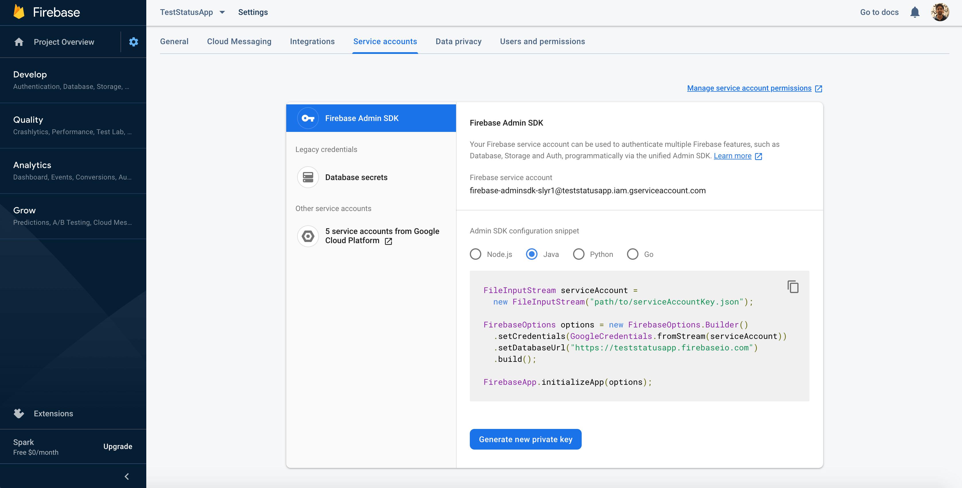 Get Firebase credentials