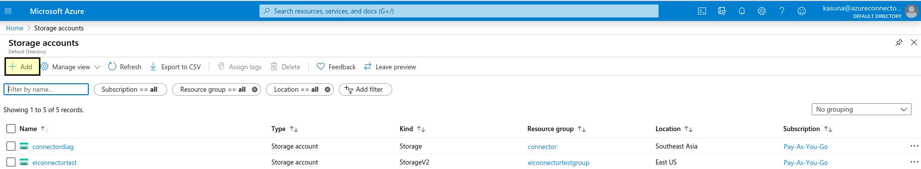 MS Azure add storage account