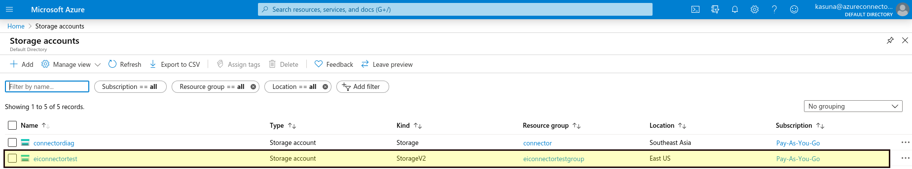 Select created storage account