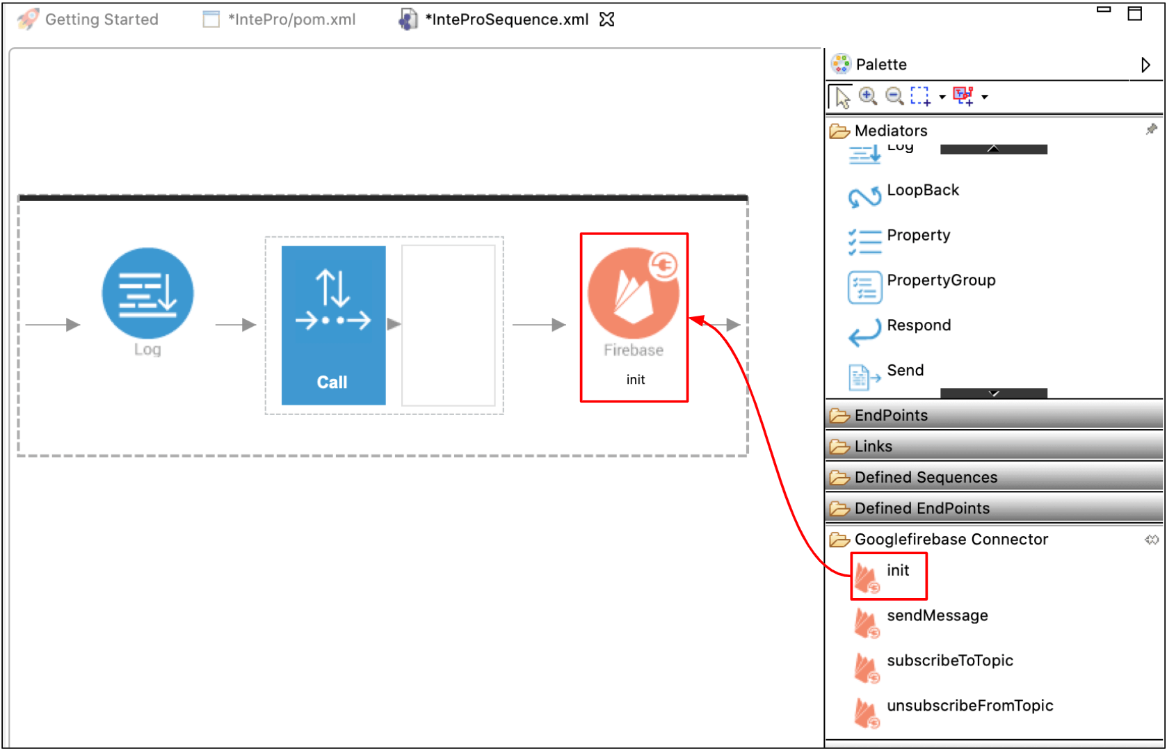 Connection configuration with init