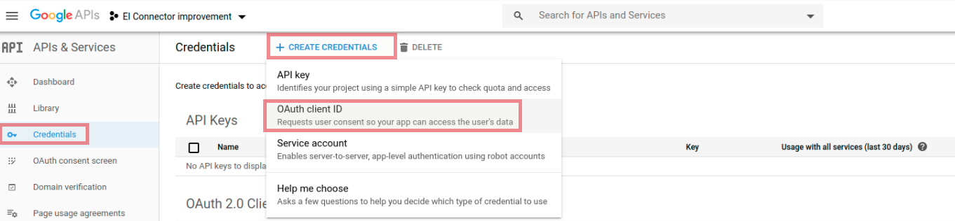 Select OAuth client ID