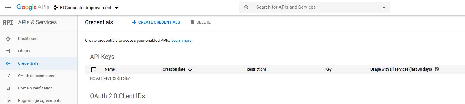 Google pubsub-credentials-page
