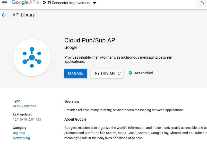 Pubsub enable API