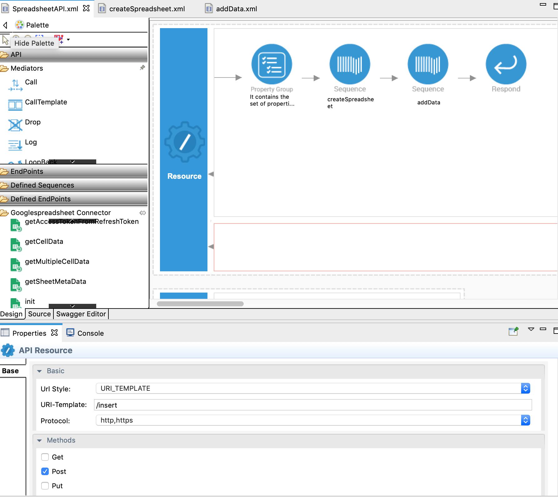 insert operation xml config