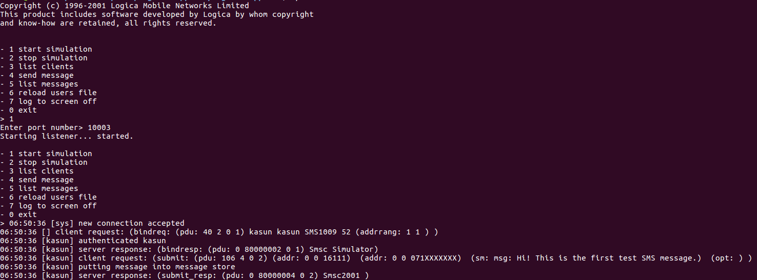 SMSC Simulator Console Output