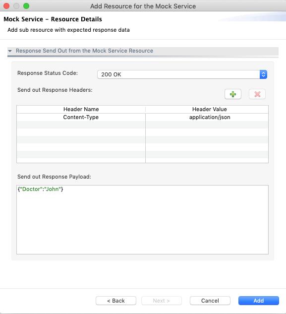 Mock Service Resource Response Details