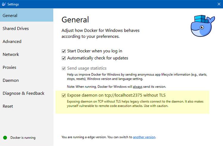 Docker settings tab